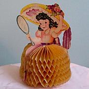 Most Adorable Honeycomb Die Cut Easter Card  Girl In Bonnet Looking in Mirror