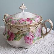 Habsburg Austria Biscuit Jar Roses Finial