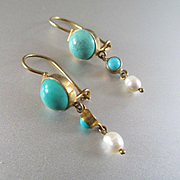 SALE PENDING Lovely Delicate Victorian Gold Washed Turquoise Dangle Earrings