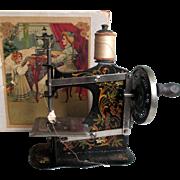 SALE PENDING Victorian German Enameled Doll's Sewing Machine Original Box Needle Case ...