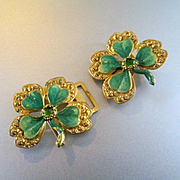 SALE PENDING Gilt Enamel Shamrock Belt Buckle For Doll
