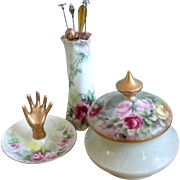 Art Nouveau Nippon Noritake Vanity Set Hatpin Holder, Ring Dish, Covered Dish