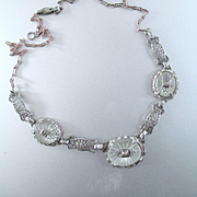Deco Rhodium Plated 3 Panel Filigree Camphor Necklace