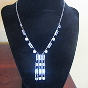 REDUCED Fabulous Deco Crystal Sterling Sautoire Necklace Bezeled Stones