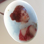 French Victorian/Edwardian Porcelain Beautiful Lady Hat Pin