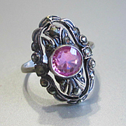REDUCED Delicate Deco Pink Tourmaline Marcasite Ring