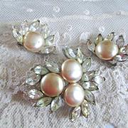 Bellini Glass Pearls Marquis Rhinestones Demi Parure