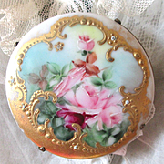 REDUCED Exquisite Early 1900's Victorian Hand Painted Large Roses Brooch