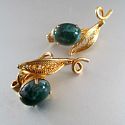 Jade Gold Tone Filigree Swirl Earrings