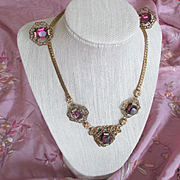 Nouveau/Deco Demi Parure Amethyst Glass Faux Seed Pearls Filigree Necklace and Earrings