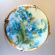 SOLD Limoges Large Victorian Gilt Hand Painted Brooch Forget-Me-Nots