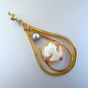 SALE PENDING Deco Cameo Pendant with Pearl