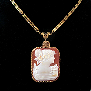 REDUCED Early 1900's Rectangular Cameo Beautiful Woman Etruscan Revival Chain Filigree