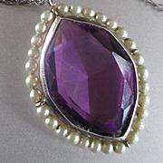 Large Amethyst Pendant Pearls