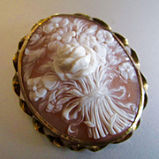 SALE PENDING Victorian High Relief Large 12K Gold Floral Bouquet Cameo Rose
