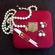 """Majorca Long 31"""" Faux Pearls Earrings Original Box"""