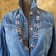 60's-70's Native American Zuni Bird Fetish Turquoise Long Double Strand Necklace Heishi Beads