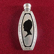 Edwardian/Deco Miniature Sterling Silver Black Enamel Perfume Bottle Dauber
