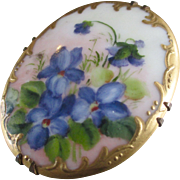 Gorgeous Victorian Hand Painted Gilt Limoges Large Brooch Violets