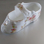 SOLD Sweetest Little Porcelain Child's Slipper Hand Painted Roses