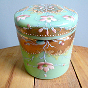 Opaline Hand Painted Japanese Moire Powder Jar