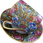 Limoges Rose Tapestry Butterflies Demitasse Cup Saucer