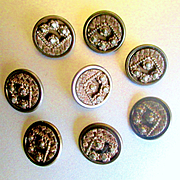 Small Victorian Floral Nail Head Buttons For Doll Clothes