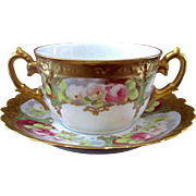REDUCED Lovely Limoges 2 Handled Hand Painted Cream Soup Roses