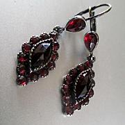 Lovely Bohemian Garnet Sterling Pierced Drop Earrings