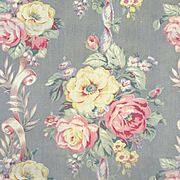 1930's-40's Beautiful Linen Canvas Long Panels Cabbage Roses