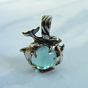 SOLD Sterling Silver Dolphins Pendant With Aqua Aura Crystal