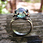SOLD Sterling Silver Frogs Ring With Aqua Aura