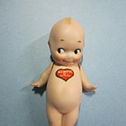 "All Bisque 5 1/4"" Kewpie Doll with Heart Sticker"