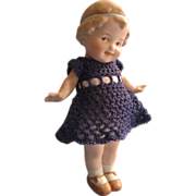 Gebruder Heubach German All Bisque Doll and Egg