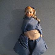 "Antique German Bisque 3 1/4"" Dollhouse Doll"