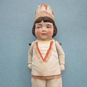 Antique All Bisque Native American Doll