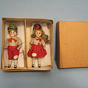 """All Original 3 1/2"""" Bisque Doll with Box"""