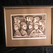"REDUCED Irving Amen Etching ""Audience At Tivoli"""