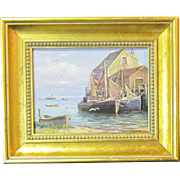 A 20th Century American Marine Painting with Boats and a Wharf by Laszlo De Nagy (1906-1944)