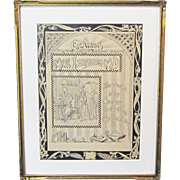 An Original Early 20th Century American Pen and Ink Design for an Ex-Librus Bookplate