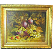 An English Still Life with Plums and Grapes by Victor F. Webb