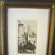 """Etching and Dry Point Titled """"Belfry of Bruges"""" by William Strang"""