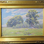 SOLD American Spring Landscape oil on canvas by Minnie Lee Judson (1865-1938)