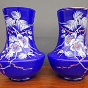 REDUCED Pair of Vintage Cobalt and White Cased Glass Vases with Hand Painted Enameling