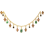 Emerald, ruby and sapphire fringed 14kt gold necklace