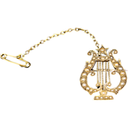 REDUCED Victorian Seed Pearl Lyre Brooch