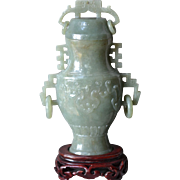 Jadeite Vase with Rosewood Base Circa 1950-1960