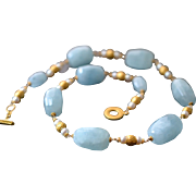 Renaissance Style natural Aquamarine and  Cultured Pearl Necklace