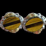 Tigereye and Black Hills Gold Screw Back Earrings Circa 1950