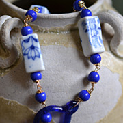 Cobalt Blue Chinese Porcelain Export Beads with Venetian Glass Clasp